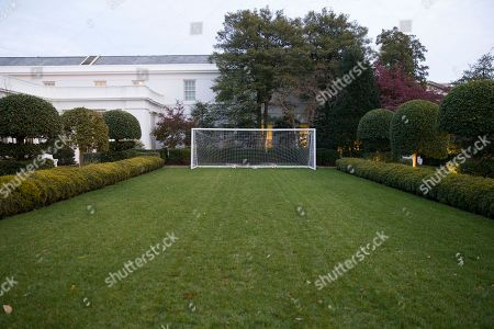 A soccer goal net is set up on the lawn of the Jacqueline Kennedy Garden of the White House, in Washington