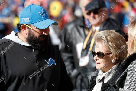 Detroit Lions head coach Matt Patricia, left, talks with team owner Martha Firestone Ford prior to an NFL football game against the Washington Redskins, in Landover, Md