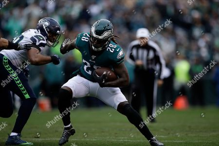 Philadelphia Eagles' Jay Ajayi runs during the first half of an NFL football game against the Seattle Seahawks, in Philadelphia