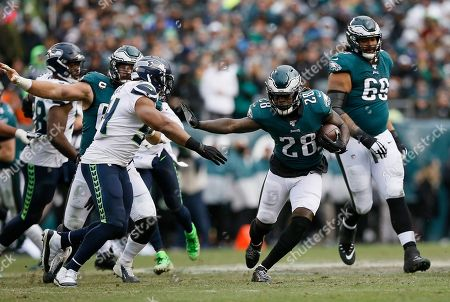 Philadelphia Eagles' Jay Ajayi in action during an NFL football game against the Seattle Seahawks, in Philadelphia