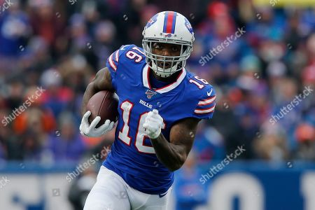 Buffalo Bills wide receiver Robert Foster (16) runs the ball against the Denver Broncos during the third quarter of an NFL football game, in Orchard Park, N.Y