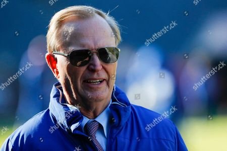 New your Giants owner John Mara on the field before before an NFL football game between the New your Giants and the Chicago Bears in Chicago