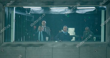 Stock Photo of Former Scottish manager Graeme Souness (2-R) watches the English Premier League soccer match between Sheffield United and Manchester United from a TV studio at Bramhall Lane in Sheffield, Britain, 24 November 2019.