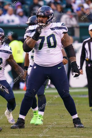 Seattle Seahawks offensive guard Mike Iupati (70) looks on during the NFL game between the Seattle Seahawks and the Philadelphia Eagles at Lincoln Financial Field in Philadelphia, Pennsylvania
