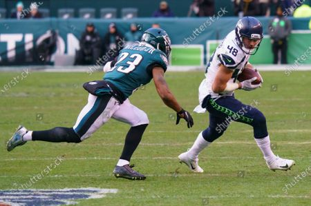 Seattle Seahawks tight end Jacob Hollister (48) in action against Philadelphia Eagles free safety Rodney McLeod (23) during the NFL game between the Seattle Seahawks and the Philadelphia Eagles at Lincoln Financial Field in Philadelphia, Pennsylvania