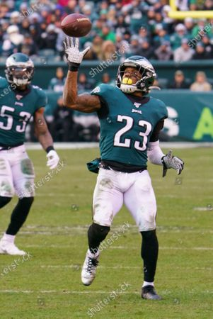 Philadelphia Eagles free safety Rodney McLeod (23) reaches up for the interception during the NFL game between the Seattle Seahawks and the Philadelphia Eagles at Lincoln Financial Field in Philadelphia, Pennsylvania