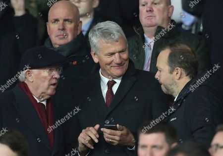 Alex Ferguson, David Gill, Ed Woodward. Left to right: Sir Alex Ferguson, David Gill and Ed Woodward talk during the English Premier League soccer match between Sheffield United and Manchester United at Bramall Lane Stadium in Sheffield, England