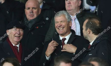 Alex Ferguson, David Gill, Ed Woodward. Left to right: Sir Alex Ferguson, David Gill and Ed Woodward smile during the English Premier League soccer match between Sheffield United and Manchester United at Bramall Lane Stadium in Sheffield, England