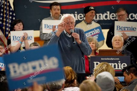Democratic presidential candidate Sen. Bernie Sanders, I-Vt., points as he speaks during a campaign stop, in Hillsboro, N.H