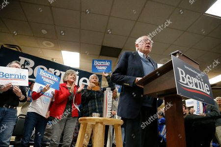 Democratic presidential candidate Sen. Bernie Sanders, I-Vt., acknowledges the crowd before speaking during a campaign stop, in Hillsboro, N.H