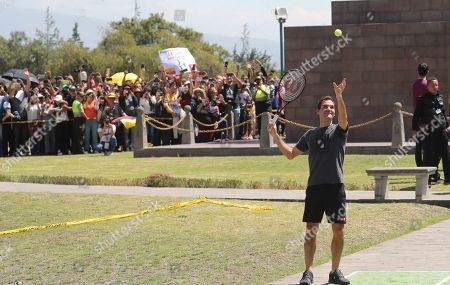 Swiss Roger Federer plays for few minutes after a press conference at Mitad del Mundo in Quito, Ecuador. . Federer and Alexander Zverev will hold an exhibition game tonight. For Federer this will be his first time in Ecuador