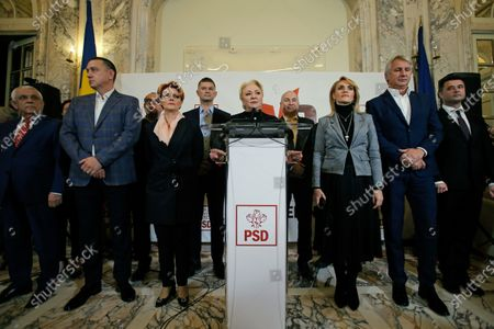 Romania's former Prime Minister and presidential candidate Viorica Dancila (C) addresses to media after first exit-polls results were announced, at the Social Democrat Party headquarters, during the presidential elections runoff in Bucharest, Romania, 24 November 2019. According to exit polls, Romania's centre-right acting president Klaus Iohannis won presidential elections in Romania.