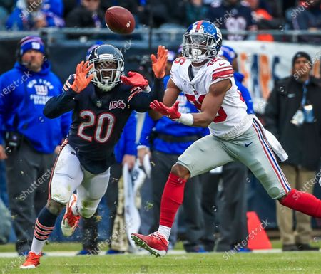 Chicago Bears cornerback Prince Amukamara (L) breaks up a pass intended for New York Giants wide receiver Darius Slayton (R) during the NFL game between the New York Giants and the Chicago Bears at Soldier Field in Chicago, Illinois, USA, 24 November 2019. The Bears defeated the Giants.