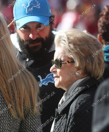 Stock Image of Detroit Lions head coach Matt Patricia talks with team owner Martha Ford prior to a game against the Washington Redskins at FedEx Field in Landover, Maryland on Photo/ Mike Buscher / Cal Sport Media