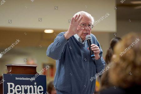 Democratic presidential candidate Sen. Bernie Sanders, I-Vt., speaks during a campaign stop, in Hillsboro, N.H