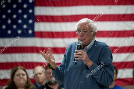 Democratic presidential candidate Sen. Bernie Sanders, I-Vt., gestures as he speaks during a campaign stop, in Hillsboro, N.H