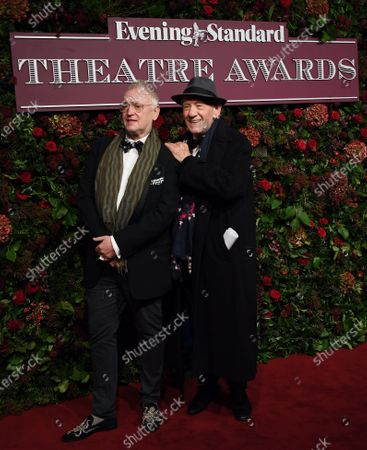 Ian McKellen (R) and Sean Mathias (L) arrive to attend the 65th Evening Standard Theatre Awards in central London, Britain, 24 November 2019.