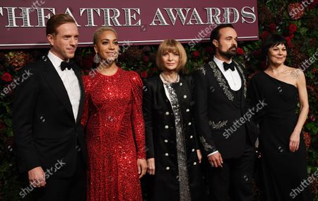 Damian Lewis, British actress Cush Jumbo, Editor in Chief of US Vogue magazine Anna Wintour, Evening Standard owner Evgeny Lebedev and British actress Helen McCrory attend the Theatre Awards in central London, Britain, 24 November 2019.