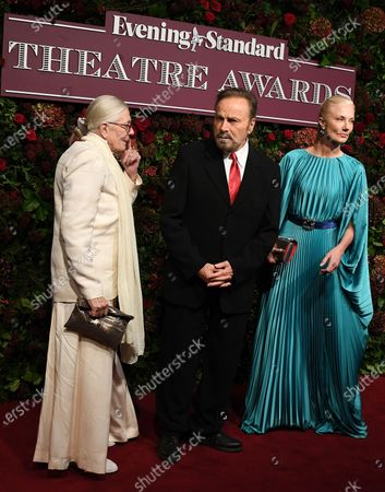 Vanessa Redgrave, Italian actor Franco Nero and British actress Joely Richardson arrive to attend  the 65th Evening Standard Theatre Awards in central London, Britain, 24 November 2019.