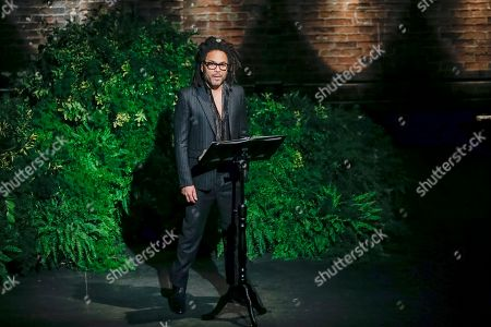 Musician Lenny Kravitz speaks to attendees during the memorial of late actress Diahann Carroll at the Helen Hayes Theater in New York on