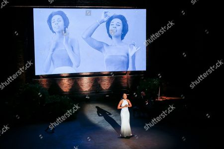 Denee Benton performs during the memorial for actress Diahann Carroll at the Helen Hayes Theater on in New York