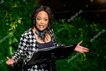 Lynn Whitfield speaks to attendees during the memorial for actress Diahann Carroll at the Helen Hayes Theater on in New York