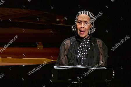 Carmen de Lavallade speaks to attendees during the memorial for actress Diahann Carroll at the Helen Hayes Theater on in New York
