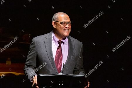 Stock Picture of Laurence Fishburne speaks to attendees during the memorial of late actress Diahann Carroll at the Helen Hayes Theater on in New York
