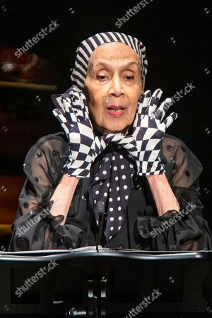 Carmen de Lavallade speaks to attendees during the memorial of late actress Diahann Carroll at the Helen Hayes Theater on in New York