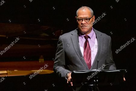 Laurence Fishburne speaks to attendees during the memorial of late actress Diahann Carroll at the Helen Hayes Theater on in New York