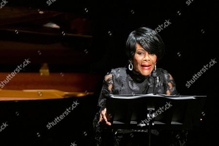 American actress Cicely Tyson speaks to attendees during the memorial of late actress Diahann Carroll at the Helen Hayes Theater on in New York