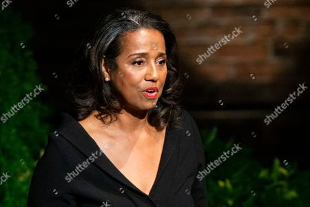 Stock Photo of Suzanne Kay, daughter of actress Diahann Carroll, speaks to attendees during the memorial at the Helen Hayes Theater on in New York