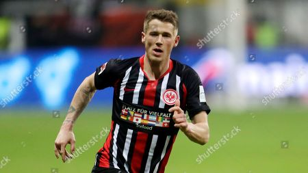 Stock Image of Frankfurt's Erik Durm runs during the German Bundesliga soccer match between Eintracht Frankfurt and VfL Wolfsburg in the Commerzbank Arena Frankfurt, Germany