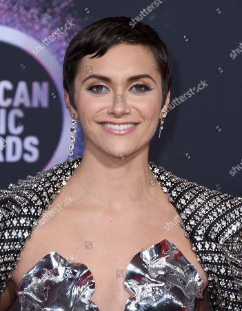 Alyson Stoner arrives at the American Music Awards, at the Microsoft Theater in Los Angeles