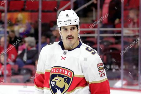 Florida Panthers' Brian Boyle (9) skates during warm-ups before an NHL hockey game against the Carolina Hurricanes in Raleigh, N.C