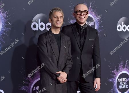 Stock Photo of Chad King, Ian Axel. Chad King, from left, and Ian Axel arrive at the American Music Awards, at the Microsoft Theater in Los Angeles