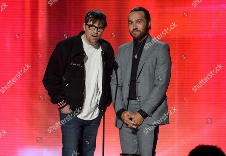 Rivers Cuomo, Pete Wentz. Rivers Cuomo, left, and Pete Wentz introduce a performance at the American Music Awards, at the Microsoft Theater in Los Angeles