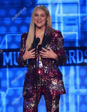 Stock Picture of Kelsea Ballerini introduces a performance by Shania Twain at the American Music Awards, at the Microsoft Theater in Los Angeles