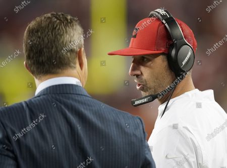 San Francisco 49ers head coach Kyle Shanahan (R) talks with San Francisco 49ers general manager John Lynch (L) on the sidelines in the final minutes of the NFL American Football game between the Green Bay Packers and San Francisco 49ers at Levi's Stadium in Santa Clara, California, USA, 24 November 2019.