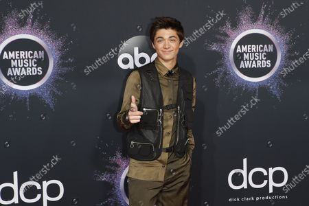Stock Image of Asher Angel arrives for the 2019 American Music Awards at MMicrosoft Theater L.A. LIVE in Los Angeles, California, USA, 24 November 2019.
