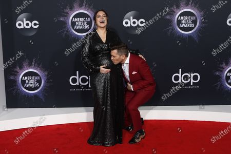 Aijia Grammer (L) and husband US singer-songwriter Andy Grammer (R) arrive for the 2019 American Music Awards at MMicrosoft Theater L.A. LIVE in Los Angeles, California, USA, 24 November 2019.