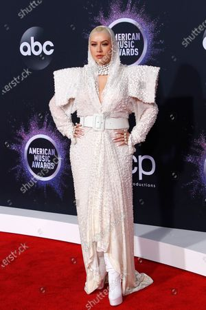 Christina Aguilera arrives for the 2019 American Music Awards at MMicrosoft Theater L.A. LIVE in Los Angeles, California, USA, 24 November 2019.