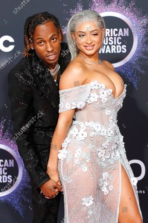Rich The Kid (L) and Antonette Willis arrive for the 2019 American Music Awards at Microsoft Theater L.A. LIVE in Los Angeles, California, USA, 24 November 2019.