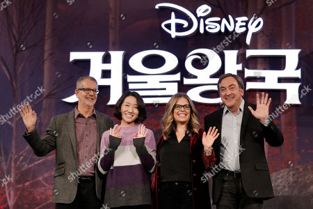 "Chris Buck, Hyun-Min Lee, Jennifer Lee, Peter Del Vecho. From left, Director Chris Buck, animation supervisor Hyun-Min Lee, director Jennifer Lee and producer Peter Del Vecho, wave for the media before a press conference for their new movie ""Frozen 2"" in Seoul, South Korea"