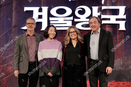 "Chris Buck, Hyun-Min Lee, Jennifer Lee, Peter Del Vecho. From left, Director Chris Buck, animation supervisor Hyun-Min Lee, director Jennifer Lee and producer Peter Del Vecho, pose for the media before a press conference for their new movie ""Frozen 2"" in Seoul, South Korea"