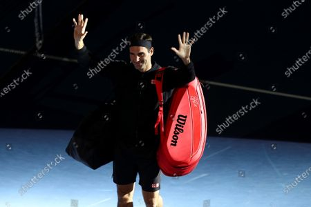 Stock Picture of Roger Federer of Switzerland greets fans before an exhibition match against Alexander Zverev of Germany, at the Ruminahui Coliseum in Quito, Ecuador, 24 November 2019.
