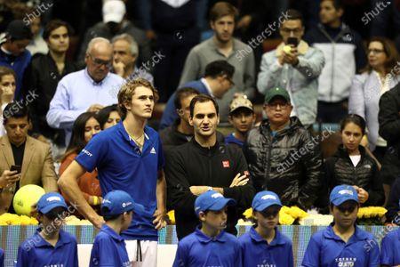 Editorial image of Federer and Zverev play exhibition match in Quito, Ecuador - 24 Nov 2019