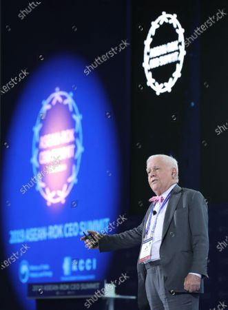 US businessman Jim Rogers delivers a speech at the 2019 Culture Innovation Summit at Busan Exhibition and Convention Center (BEXCO) in Busan, South Korea, 25 November 2019. The Culture Innovation Summit is being held on the sidelines of the special summit between the Association of Southeast Asian Nations (ASEAN) and the Republic of Korea (ROK).