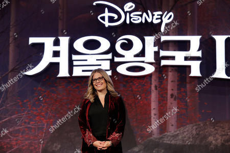 "Stock Image of Director Jennifer Lee poses for the media before a press conference for her new movie ""Frozen 2"" in Seoul, South Korea"