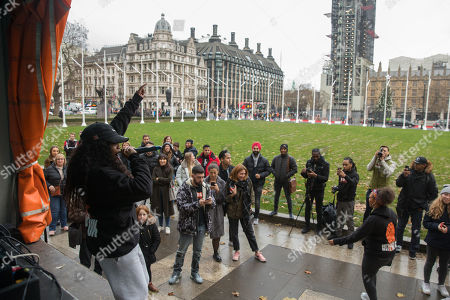 Editorial image of Rize Up host guerilla gig to encourage young people to vote, London, UK - 25 Nov 2019